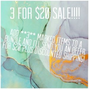 "All items marked ""3 for $20"" are on sale!"